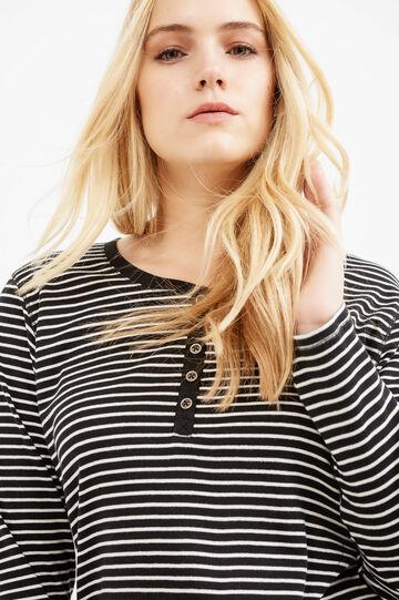 T-shirt puro cotone a righe Curvy, Bianco/Nero, hi-res