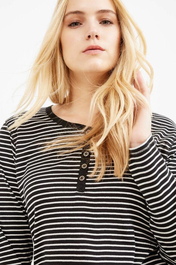 Curvy striped T-shirt in 100% cotton | OVS