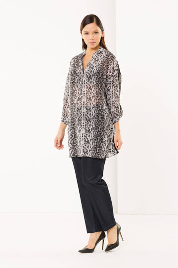 Curvy animal print shirt, Grey, hi-res