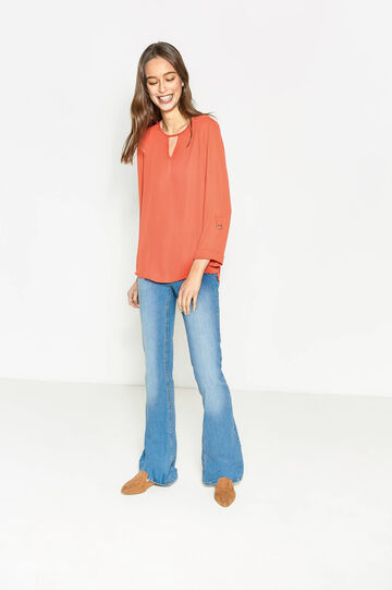 Solid colour V-neck blouse