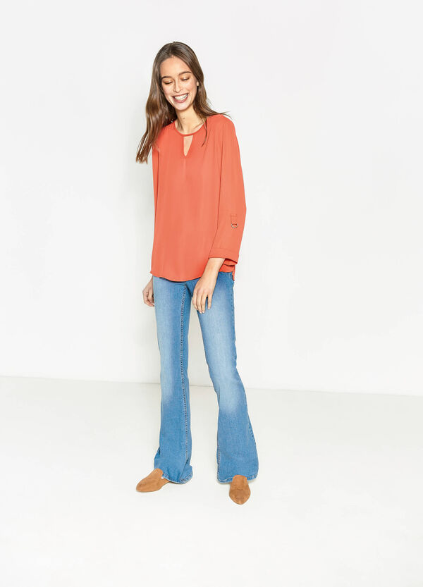Solid colour V-neck blouse | OVS