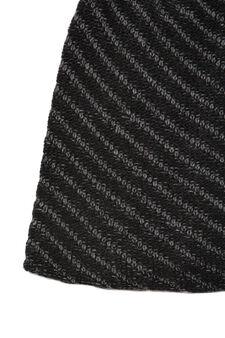 Striped-pattern beanie cap, Black, hi-res