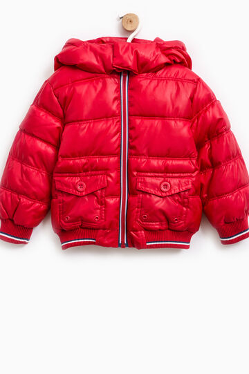 Down jacket with hood and pockets, Red, hi-res
