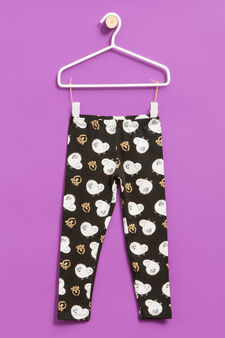 Cotton leggings with Pets print, Black, hi-res