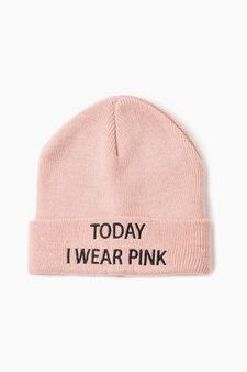 Beanie cap with embroidered lettering, Pink, hi-res