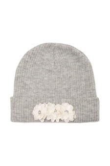 Beanie cap with appliqué flowers, Grey, hi-res