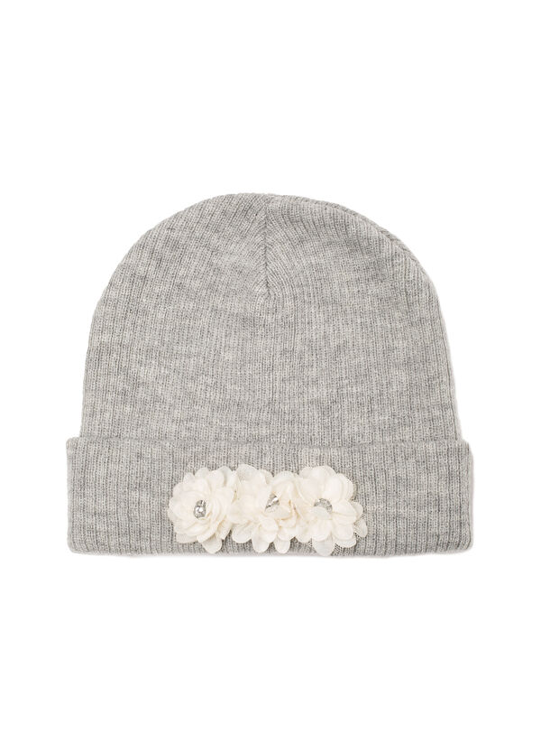 Beanie cap with appliqué flowers | OVS