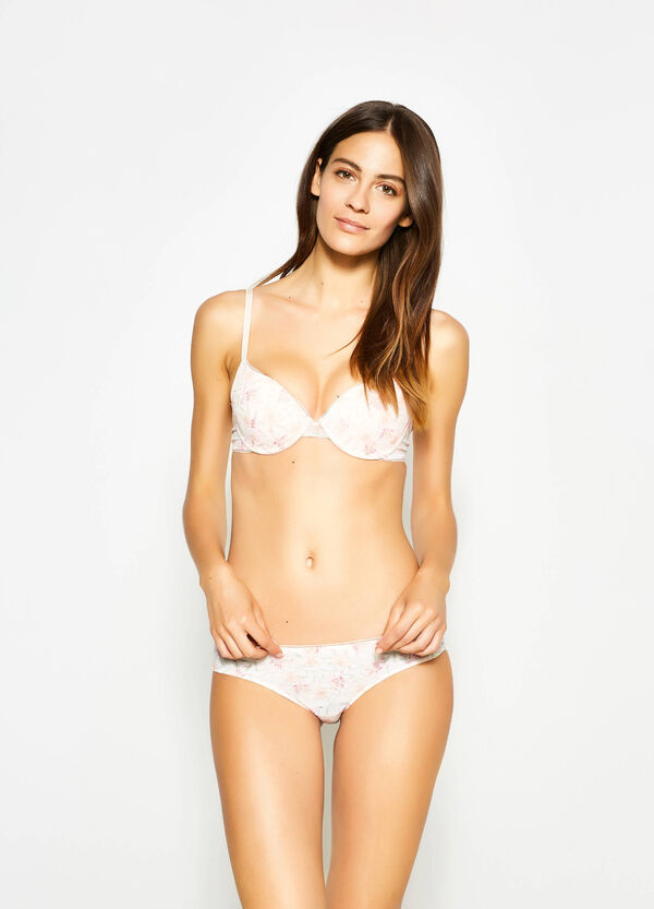 Floral Brazilian-cut briefs with frills | OVS