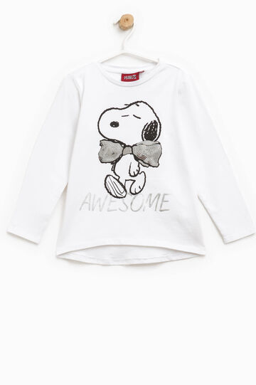 Cotton T-shirt with Snoopy print, White, hi-res