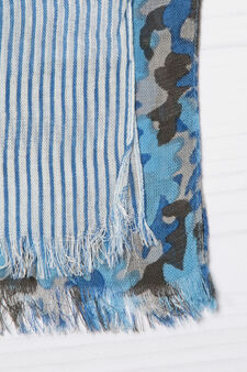 Printed pashmina in 100% viscose, Blue, hi-res
