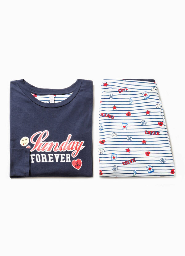 Cotton pyjamas with lettering print and pattern | OVS