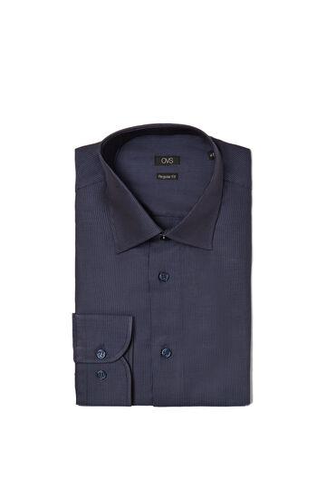 Camicia regular fit misto cotone righe, Blu, hi-res