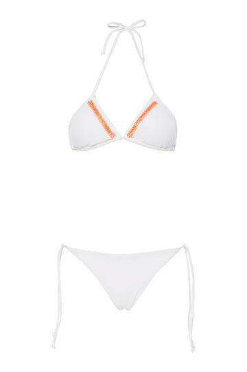 Stretch bikini with embroidery, White, hi-res