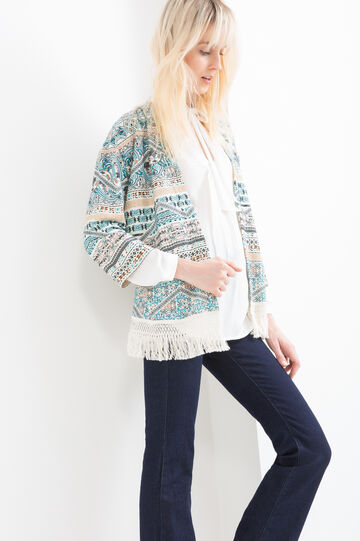 Fleece cardigan with pattern and fringes, Orange, hi-res
