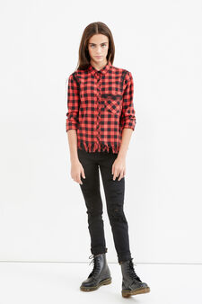 Teen checked shirt with fringe, Black/Red, hi-res
