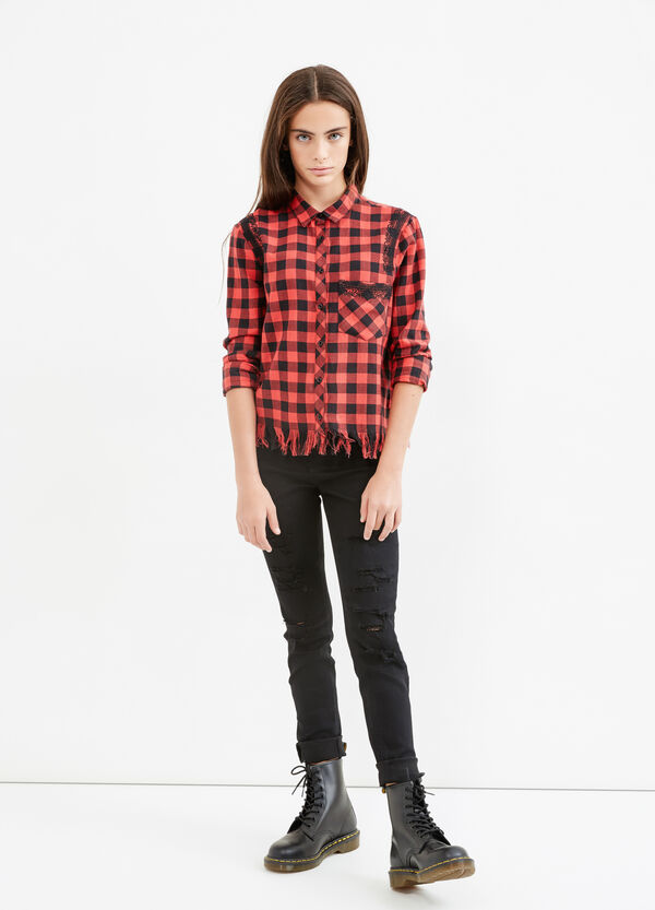 Teen checked shirt with fringe | OVS
