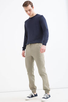 100% cotton trousers with six pockets, Beige, hi-res
