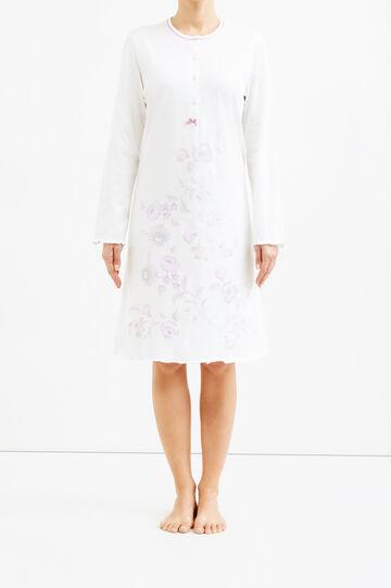 Printed nightshirt, Cream White, hi-res