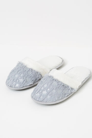 Fur slippers with embroidery, Grey, hi-res
