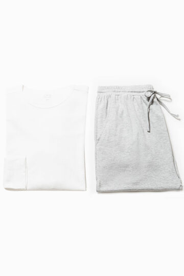 Solid colour 100% cotton pyjamas, White/Grey, hi-res