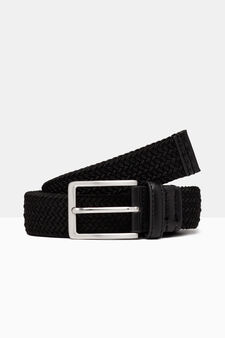 Braided belt with metal buckle, Black, hi-res