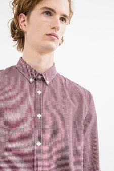 Slim-fit casual shirt with button down collar, Red, hi-res