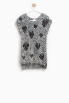 Knitted pullover with shaggy fur pattern, Grey, hi-res