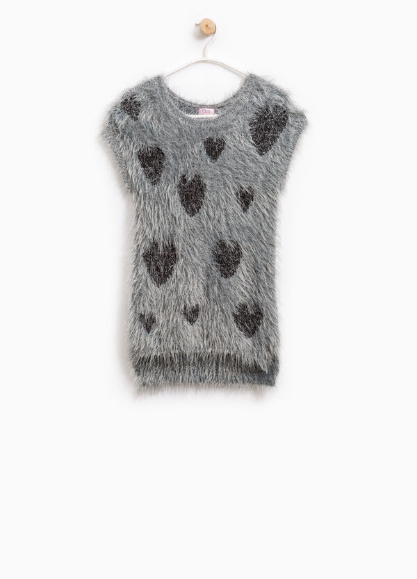Knitted pullover with shaggy fur pattern | OVS