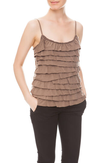 Top con volant, Cognac Brown, hi-res