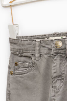 Solid colour slim-fit chino trousers, Light Grey, hi-res