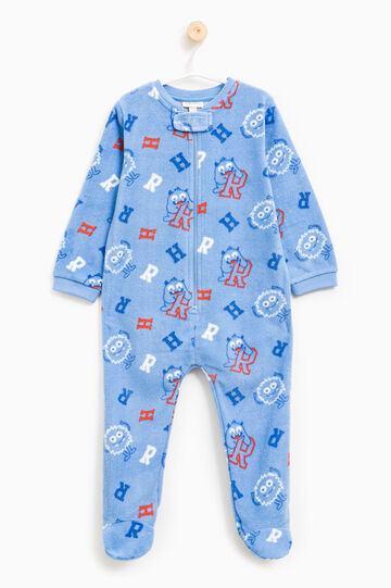 Sleep suit with patterned feet, Light Blue, hi-res