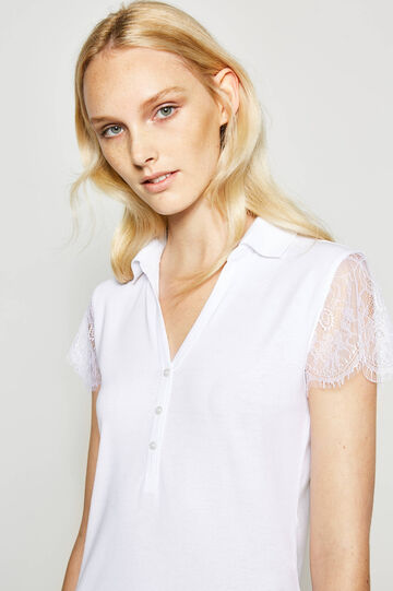 Cotton polo shirt with lace sleeves
