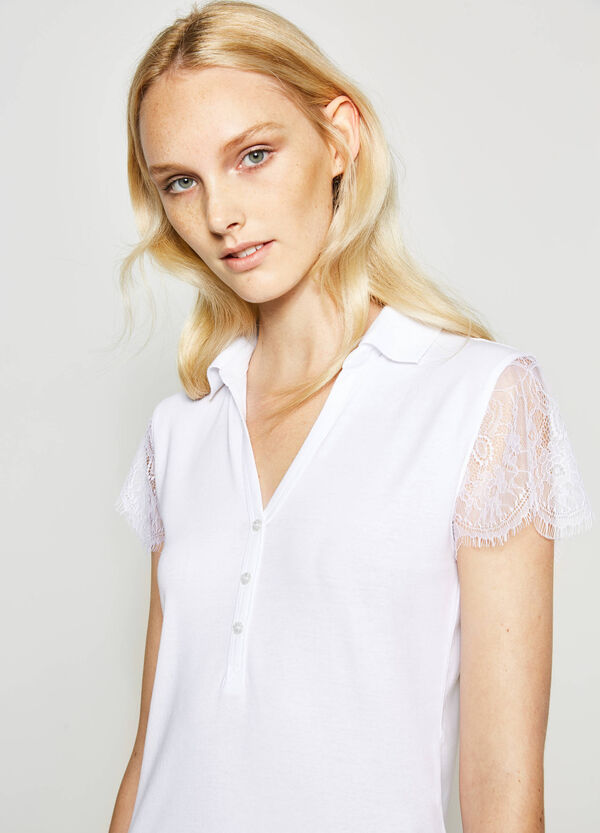 Cotton polo shirt with lace sleeves | OVS