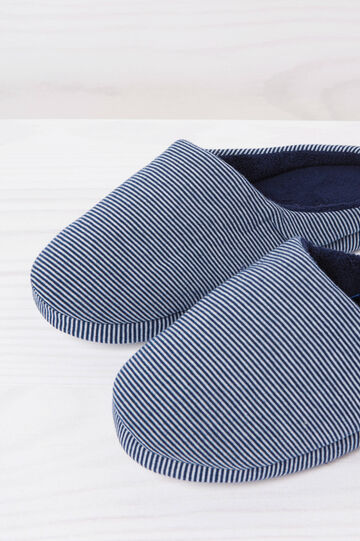 Striped slippers, White/Blue, hi-res