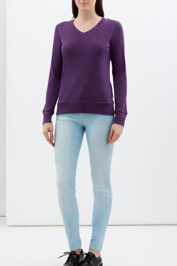 T-shirt con strass, Viola porpora, hi-res