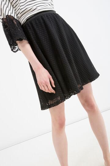 Solid colour lace skirt, Black, hi-res