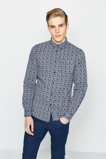 Slim-fit casual shirt with all-over print, White/Blue, hi-res