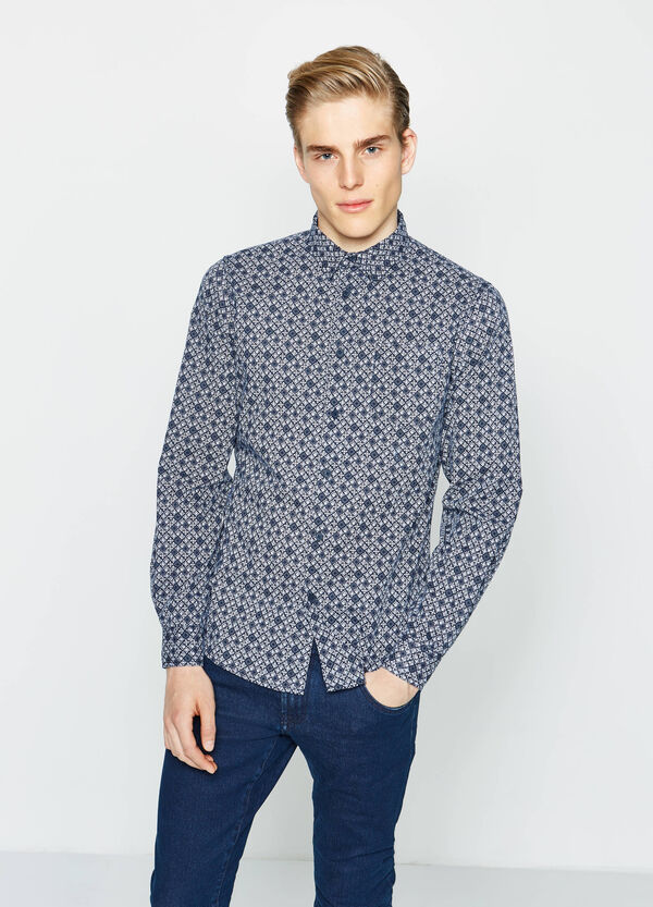 Slim-fit casual shirt with all-over print | OVS