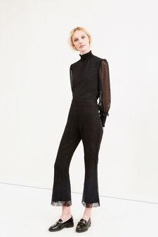 Pantaloni crop a in pizzo stretch, Nero, hi-res