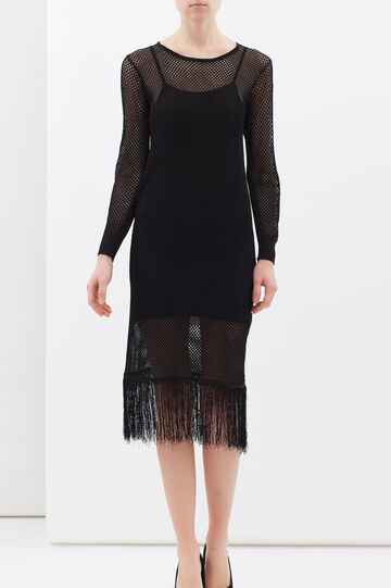 Longuette dress with fringe, Black, hi-res