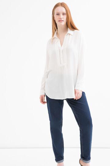 Curvy blouse in 100% viscose, Cream White, hi-res