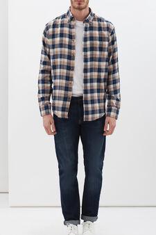 Check cotton shirt, Blue, hi-res