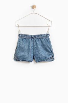 Denim shorts with drawstring, Denim, hi-res