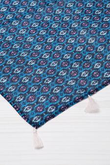 Patterned pashmina in viscose, Blue, hi-res