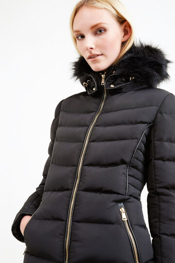 Jacket with hood and faux fur, Black, hi-res