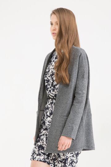 Jacket in 100% cotton fleece, Grey Marl, hi-res