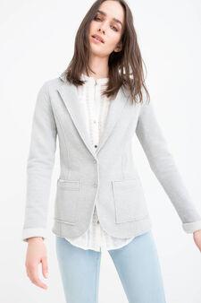 Cotton blend, raw edge blazer, Grey Marl, hi-res