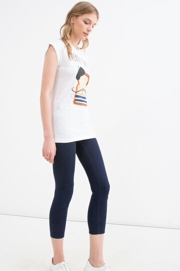 Maxi print T-shirt in 100% cotton, White, hi-res