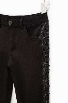 Pantaloni con bande laterali e paillettes, Nero, hi-res