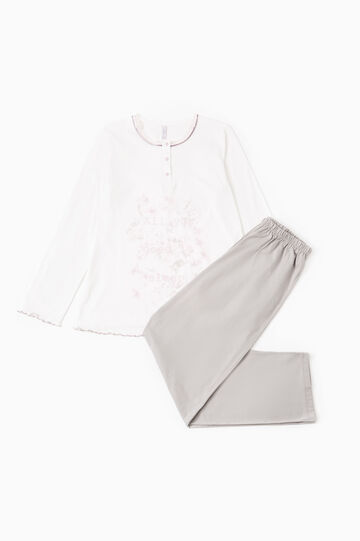 Pyjamas with print and lace, White/Grey, hi-res